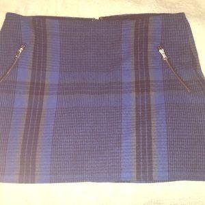 Gap Blue Plaid Wool Skirt